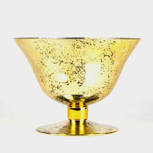 6.5 inch H X 9 inch W X 9 Inch  Gold Mercury