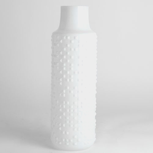 15 Inch H X 3 Inch White Textured Round Cylinder