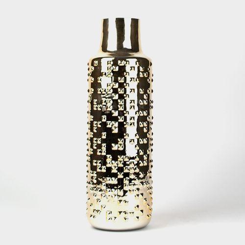 15 Inch H X 3 Inch Gold Textured Round Cylinder