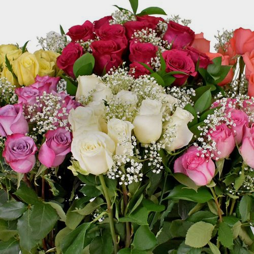 Rose Bouquet 12 Stem - Assorted Colors 50cm